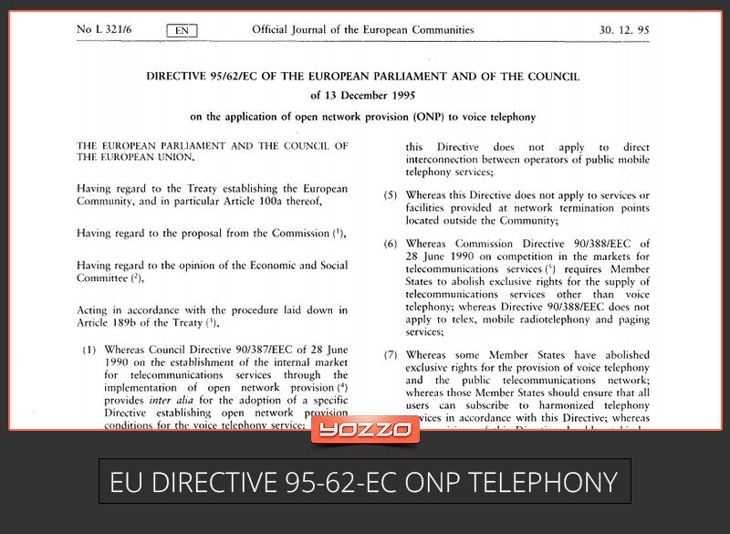 EC Directive 95-62-EC ONP Telephony