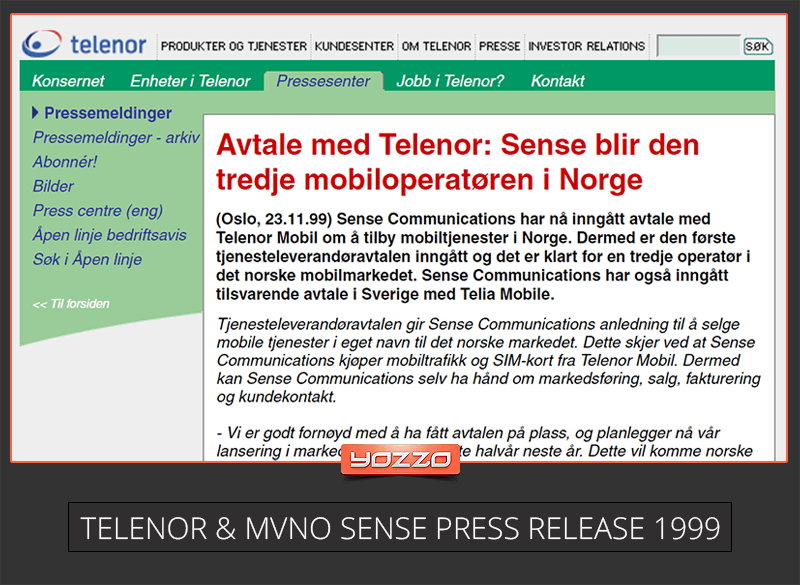 Telenor and Sense signs MVNO agreement