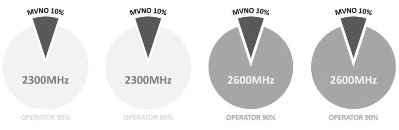2300MHz and 2600MHz MVNO capacity