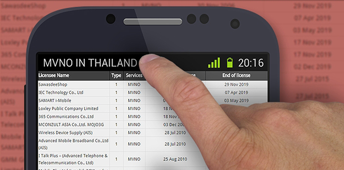 MVNO licenses in Thailand as of 2016